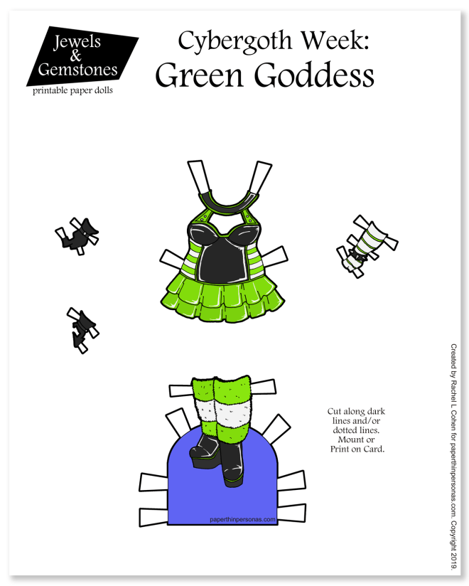 Today's paper doll outfit is a cybergoth dress with boots and furry leg-warmers. It's meant to be printed in color or black and white for coloring.