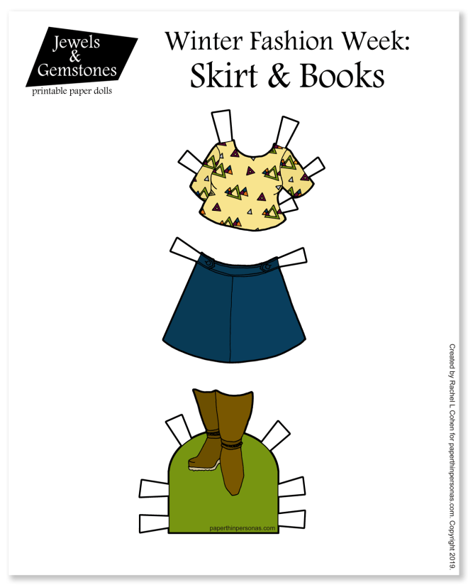 Paper Doll clothing! A skirt and boots and super cute triangle covered top. Print these in color or in black and white for coloring! Super Cute Coloring Pages for Kids or Adults who like to color.