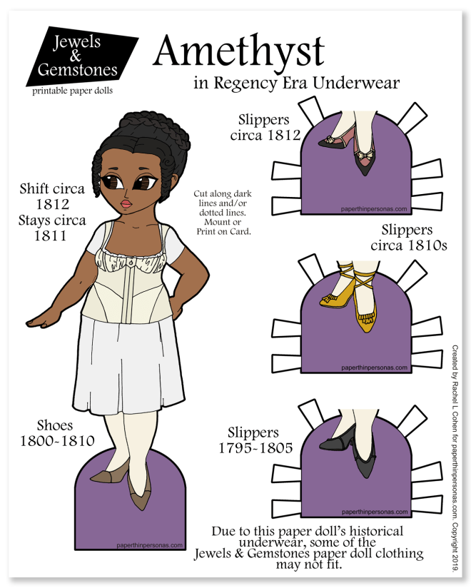 A beautiful curvy paper doll with her regency period underwear based on primary sources. This regency paper doll has three pairs of shoes and several dresses forthcoming. You can print her in color or black and white for coloring.