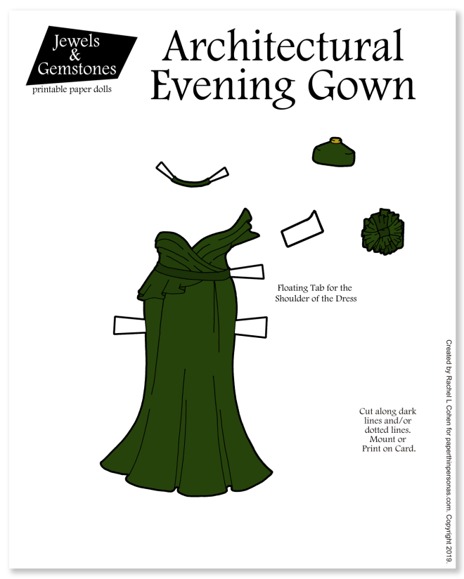 A beautiful architectural eveninf gown in green with a origami style bodice for the paper dolls to print.