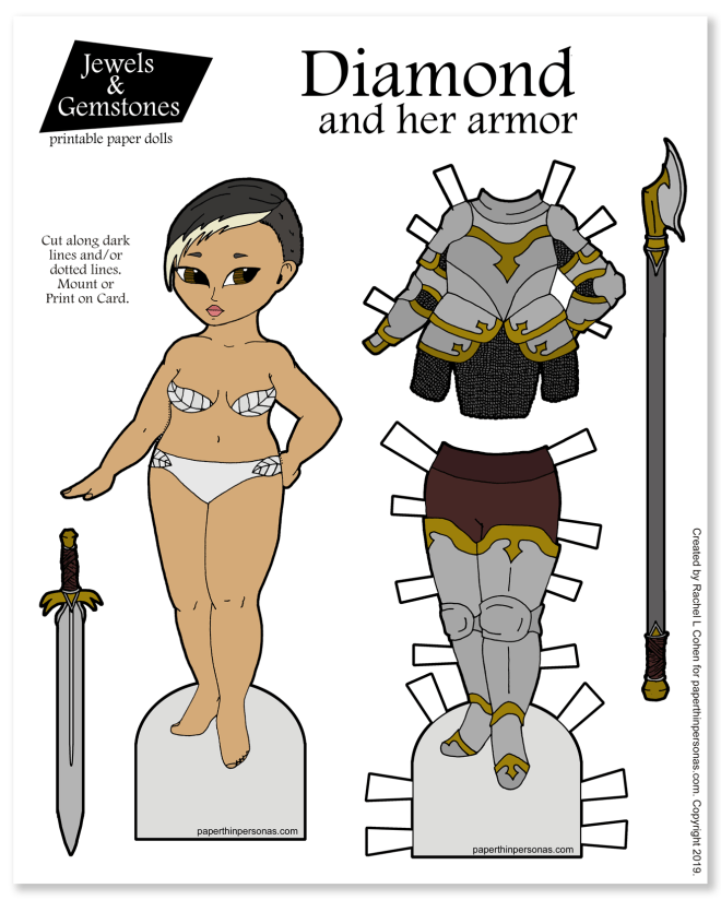 An Asian paper doll with practical fantasy armor and weapons for slaying/riding dragons or generally just having a good time. Print her in color or as a coloring page. Great rainy day activity.