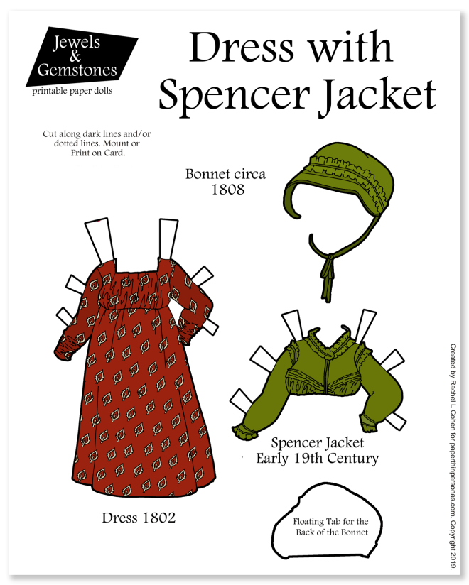 A Regency era round gown from 1802 in printed cotton with a Spencer jacket and bonnet for the Jewels and Gemstones Printable paper dolls. You can print the paper doll set in color or black and white for coloring. Free to print from paperthinpersonas.com.