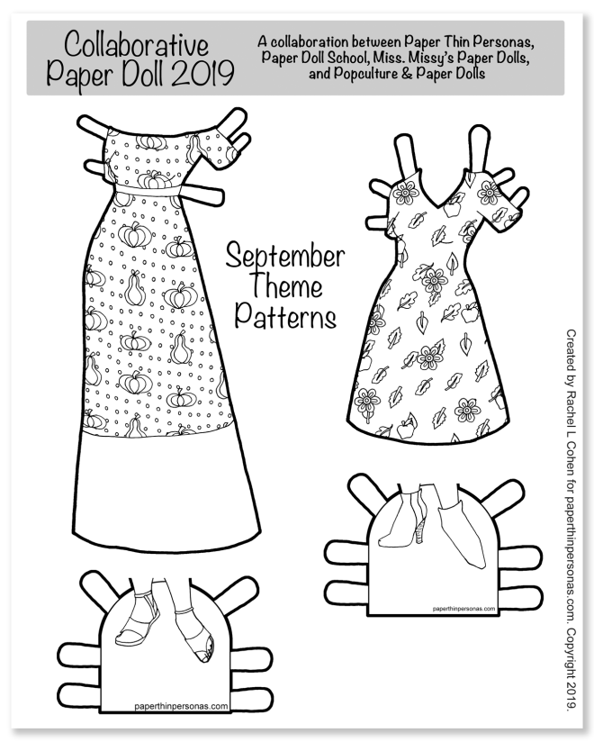 A paper doll coloring page featureing autumn themed dresses with fun patterns. Great as a fall activitiy for kids!