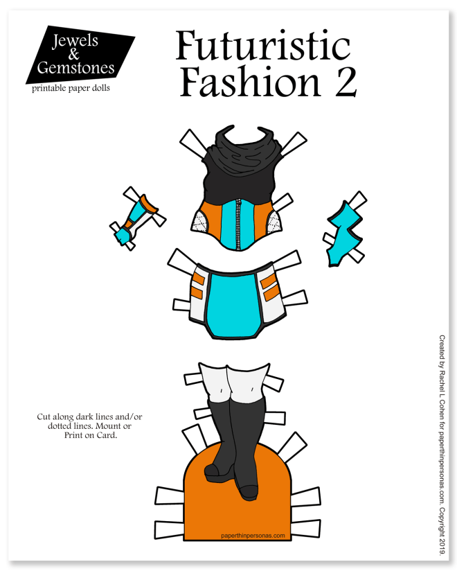 A sci-fi inspired set of paper doll clothing with a cowl necked top, skirt and boots. Black and white or color to print and play with.