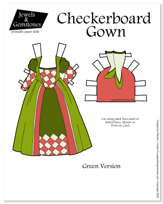 A fantasy paper doll dress inspired by a chess board. Free princess paper doll dress.