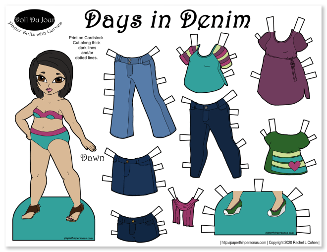 Paper dolls to dress with jeans and other contemporary clothing pieces.
