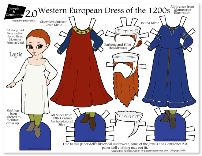 A colorful 13th century women's clothing paper doll with two dresses and three headdresses.