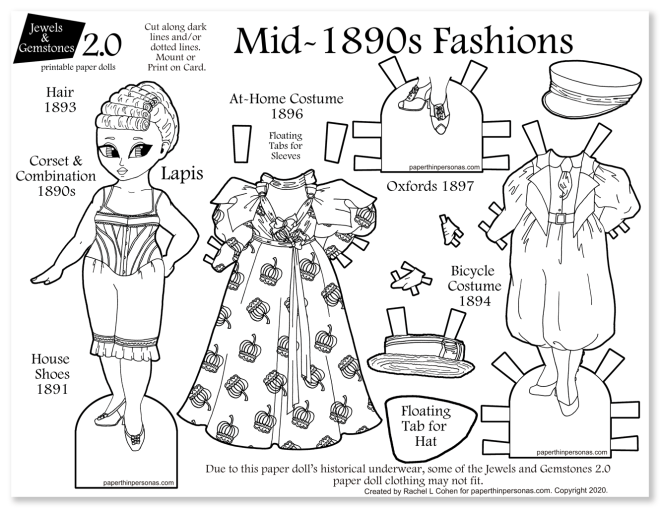 A printable paper doll coloring page celebrating the 19890s with two historical outfits, shoes, underwear and hats. Super great way to show fashion history to kids.