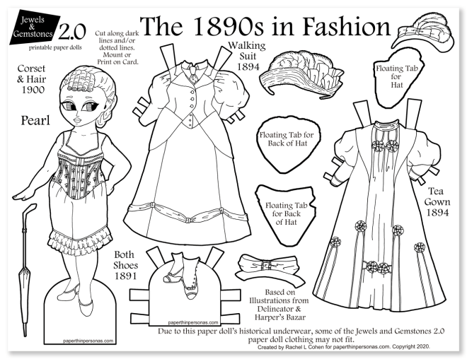 An 1890s dress up paper doll coloring page with two historical dresses, period underwear, hats and shoes. Fun way to learn about clothing history!