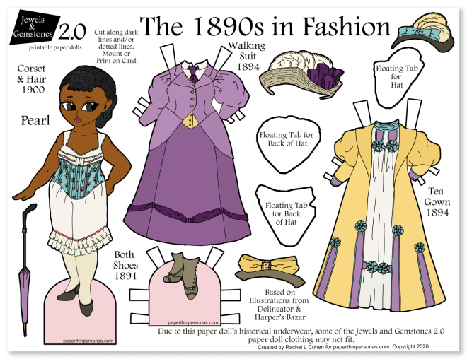 An 1890s dress up paper doll in color. She has two historical dresses, period underwear, hats and shoes. Fun way to learn about clothing history!