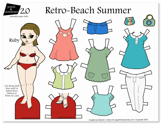 Brunette printable fashion paper doll dress up page with 8 mix and match clothing options.
