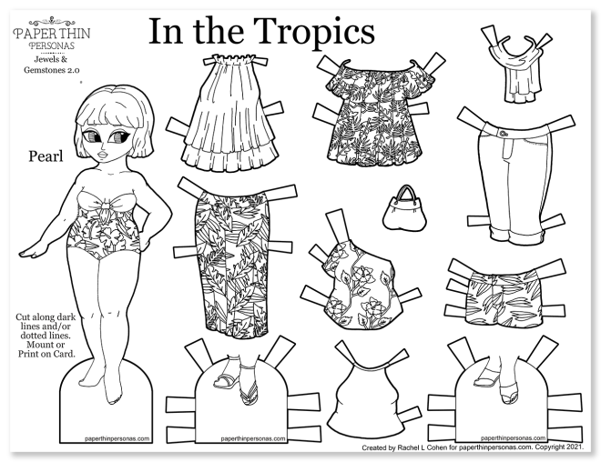 A printable paper doll  coloring page with a 9 piece mix and match wardrobe of tropical patterned fashion pieces to print.