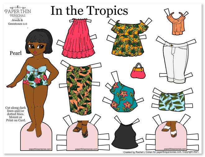 A printable paper doll with a 9 piece mix and match wardrobe of tropical patterned fashion pieces to print.