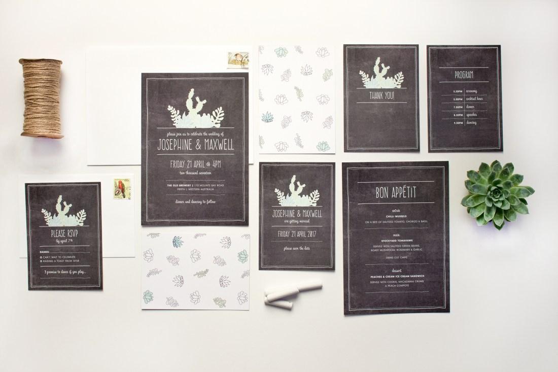 Succulent wedding invitation stationery suite