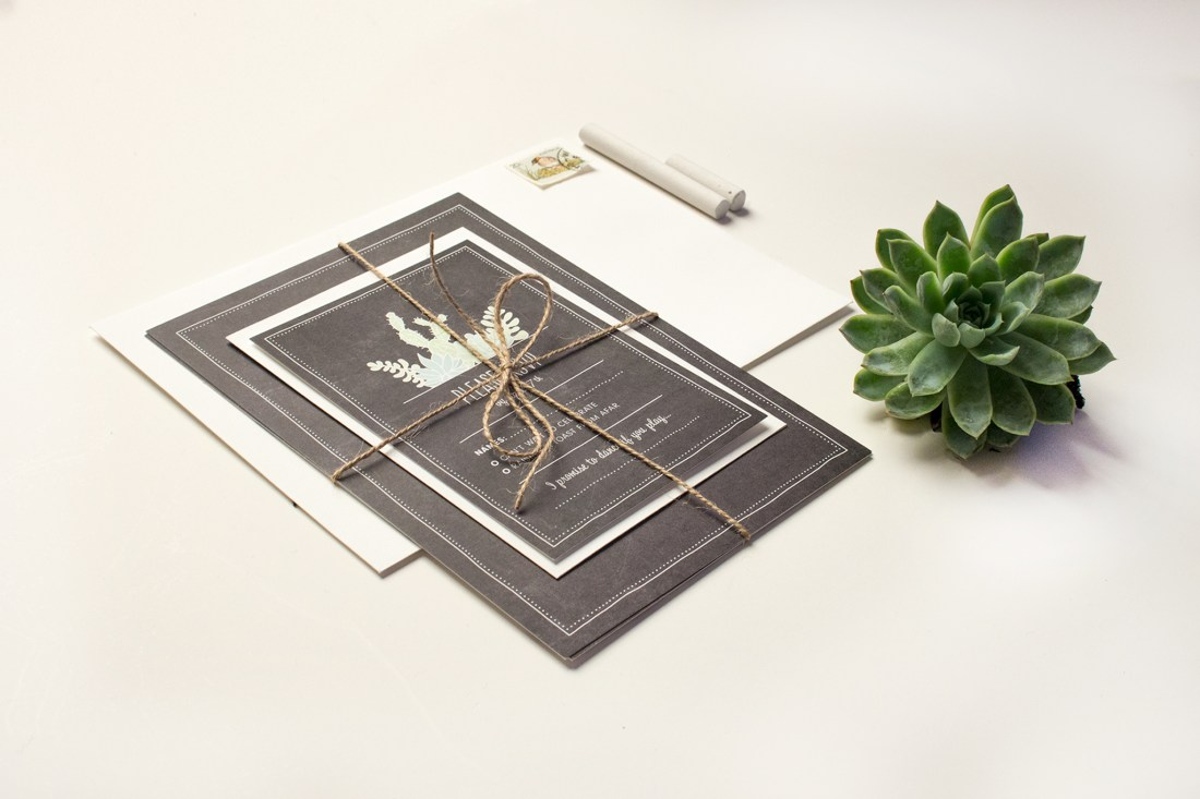 Succulent wedding invitation wrapped up