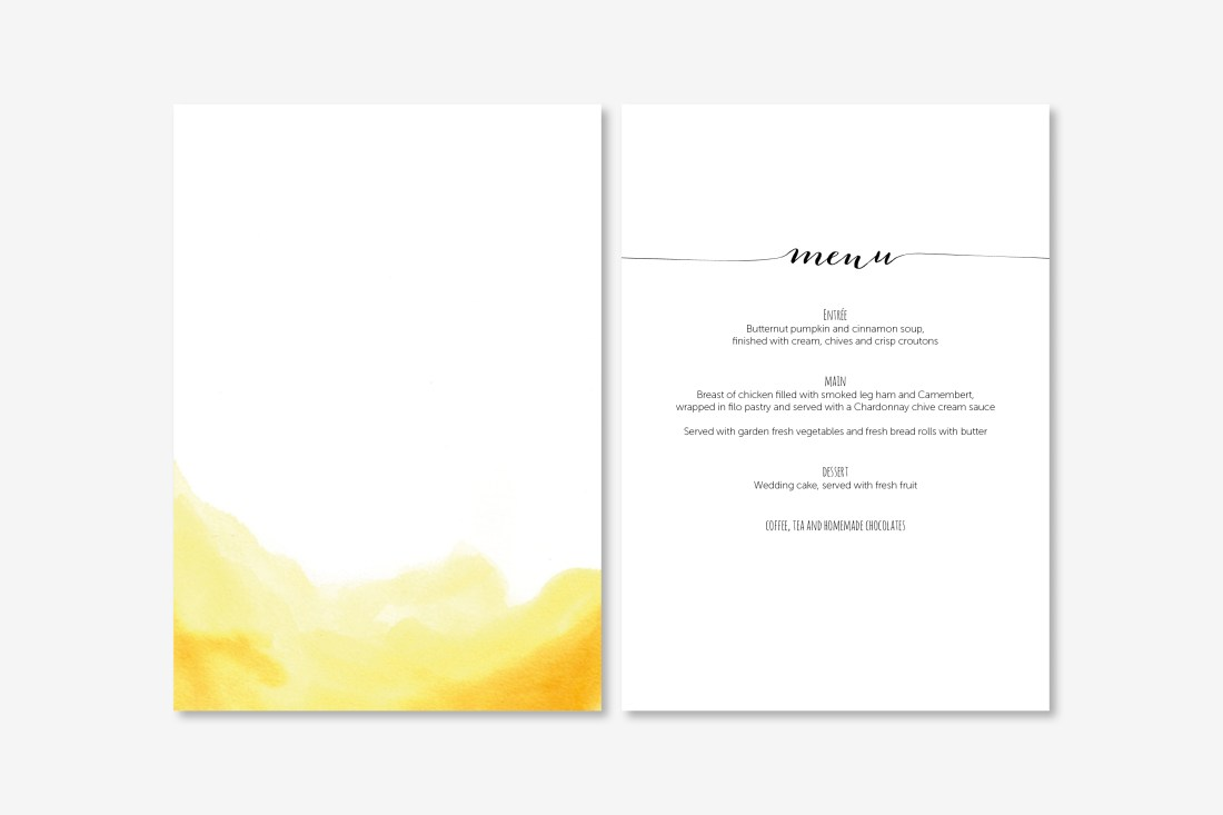 watercolour wedding menu
