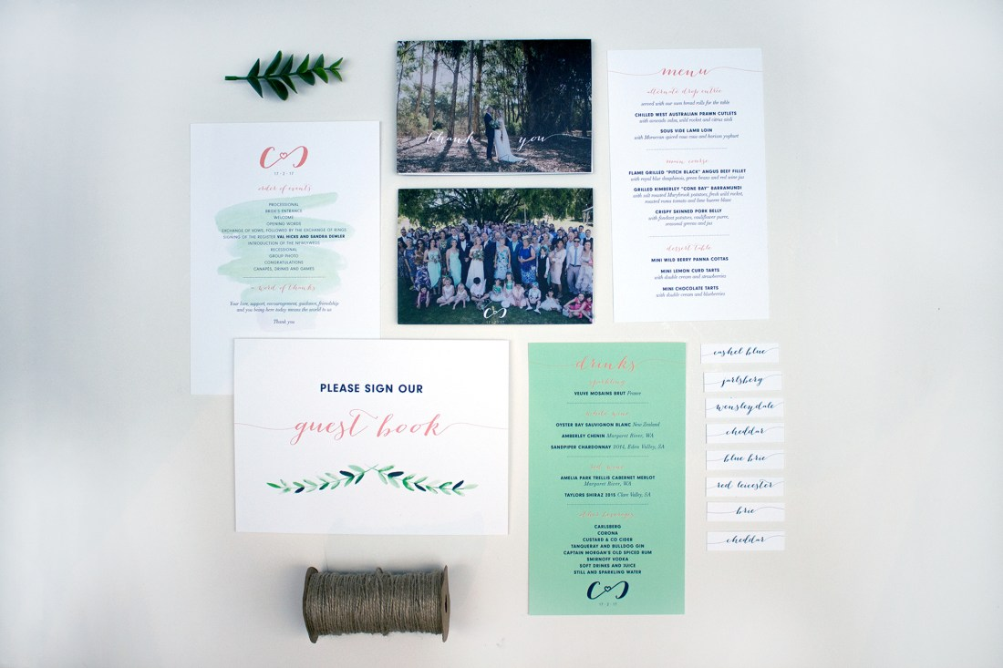Custom wedding stationery Chioni & CJ
