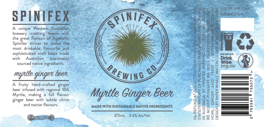 Spinifex Brewing Co Myrtle Ginger Beer Can Label Design