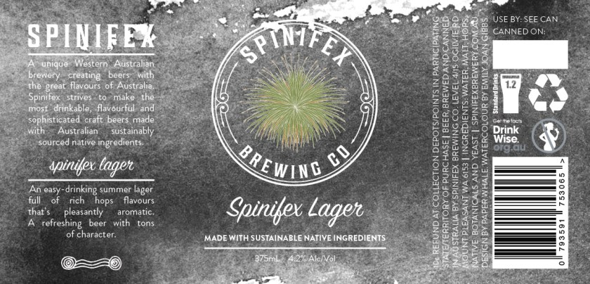 Spinifex Brewing Co Spinifex Lager Can Label Design
