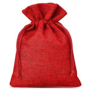 Woreczek na pendrive – jutowy czerwony – 8x10cm