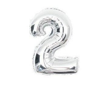 Balon foliowy na hel cyfra 2 40cm srebrny