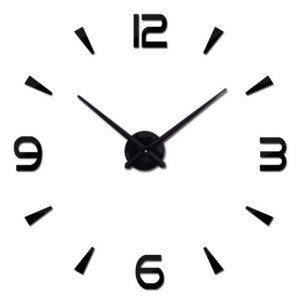 Zegar ścienny naklejany DIY duży 3D 80-120cm czarny