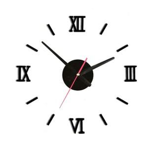 Zegar ścienny naklejany DIY 70-130cm czarny cyfry rzymskie