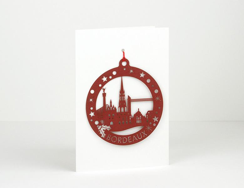 Postal decoración navideña en papel