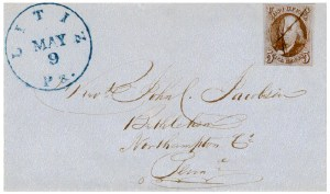 A 5 cts. 1847 from a small Pennsylvania town.  Alexander [THE UNITED STATES 1847 ISSUE: A COVER CENSUS] records this cover and one other 5 cts. 1847 cover from Litiz. According to the Official Record Book of the Post Office Department [July 1, 1847 - June 30, 1851], 200 5 cts. stamps were delivered to Litiz.