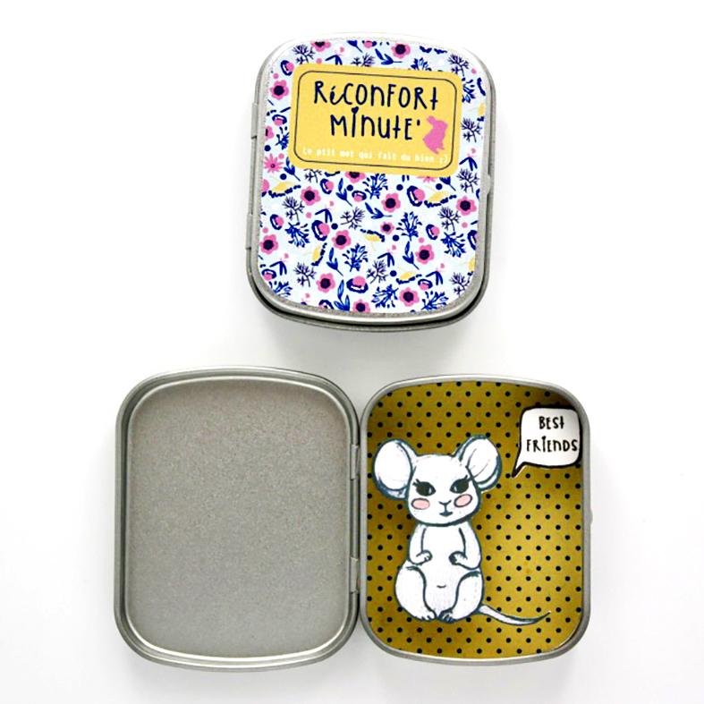 Boite réconfort minute souris best friends moutarde - Boite Réconfort Minute Souris