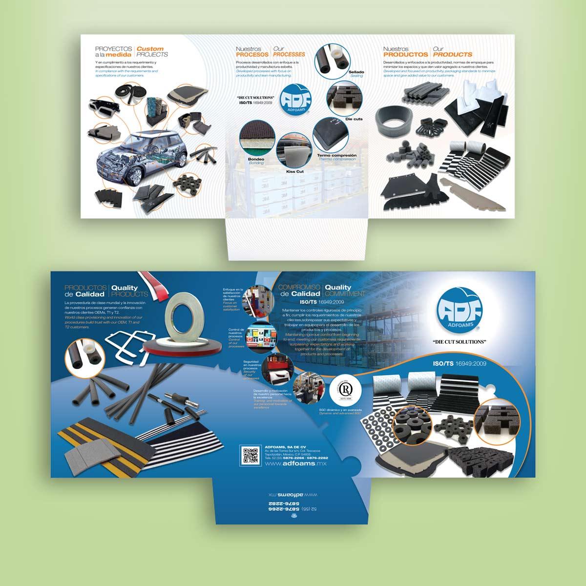 diseño gráfico de folder comercial