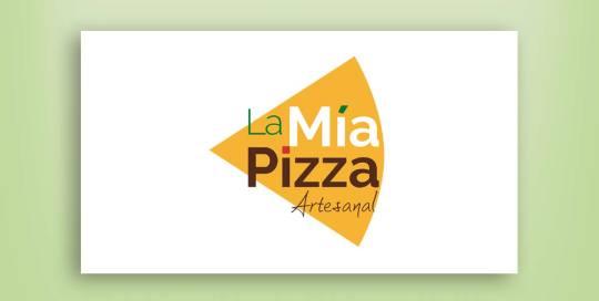 diseño de logotipo La Mía Pizza