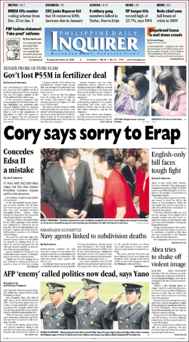 Cory Apologizes to Erap. D@mn!