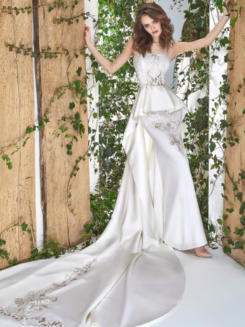 wedding gown with peplum skirt