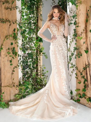 Tulle A-line wedding dress with 3D floral appliques