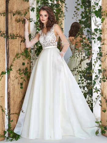 Ball gown wedding dress with see-through lace bodice and side pockets