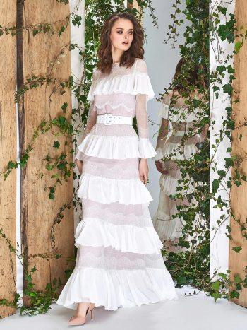 Bell sleeve sheath wedding dress with flounced chiffon layers