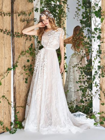 Cap sleeve A-line wedding dress with 3D floral embroidery