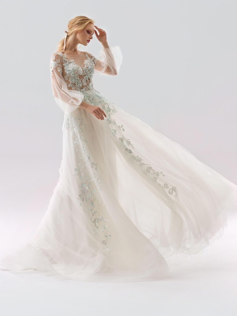 A-line wedding dress with floral applique and deep v
