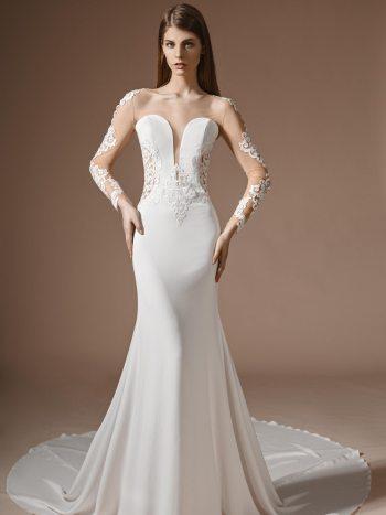 wedding dress with illusion neckline