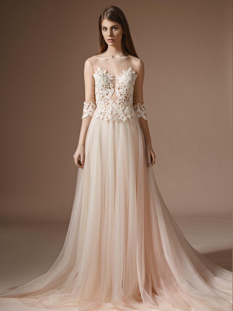 A-line wedding dress with illusion three-quarter sleeves and lace bodice