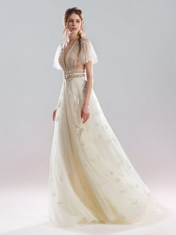 A-line wedding gown with flowing sleeves
