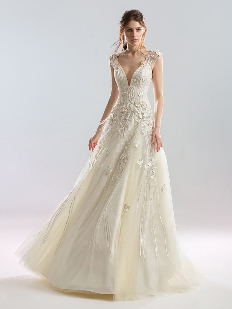 Deep v neck A-line wedding dress with 3D flower appliques