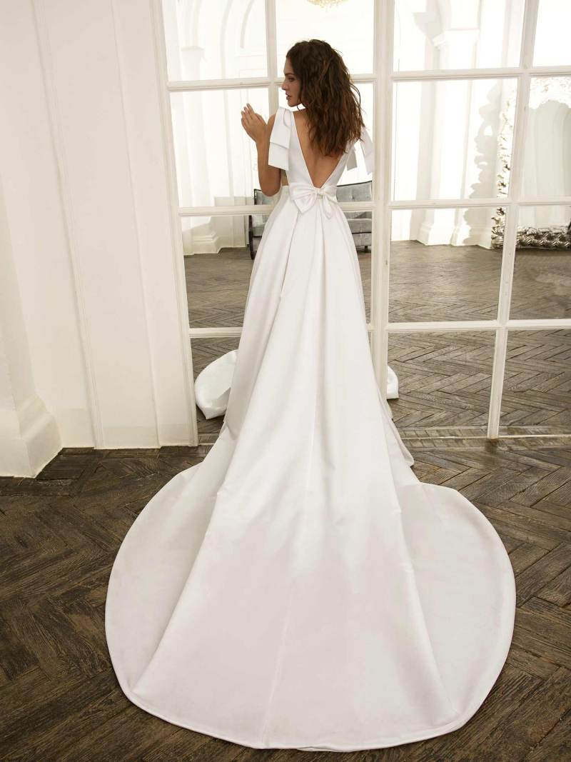 Sarin Mikado ball gown with plunging neckline and open back