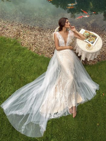 wedding gown with plunging neckline