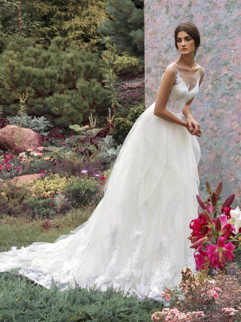 A-line wedding dress with textured skirt and 3D floral embroidery