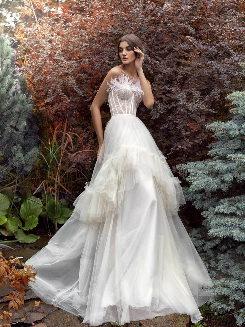 A-line wedding gown with feathered bustier bodice