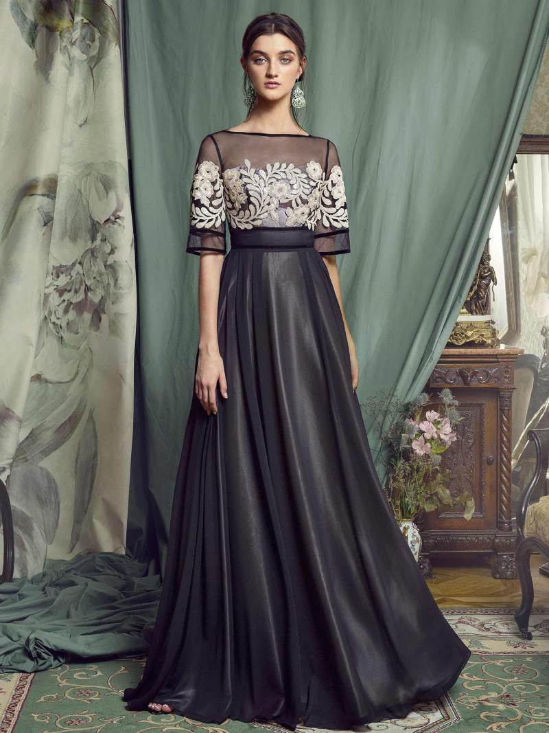 A-line evening gown with short sleeves and sequinned embroidery