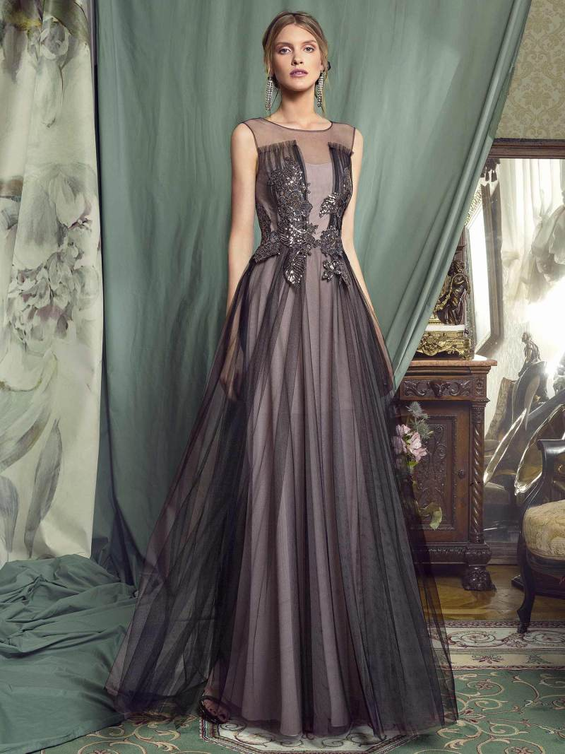 A-line evening gown with embellished bodice and tulle skirt