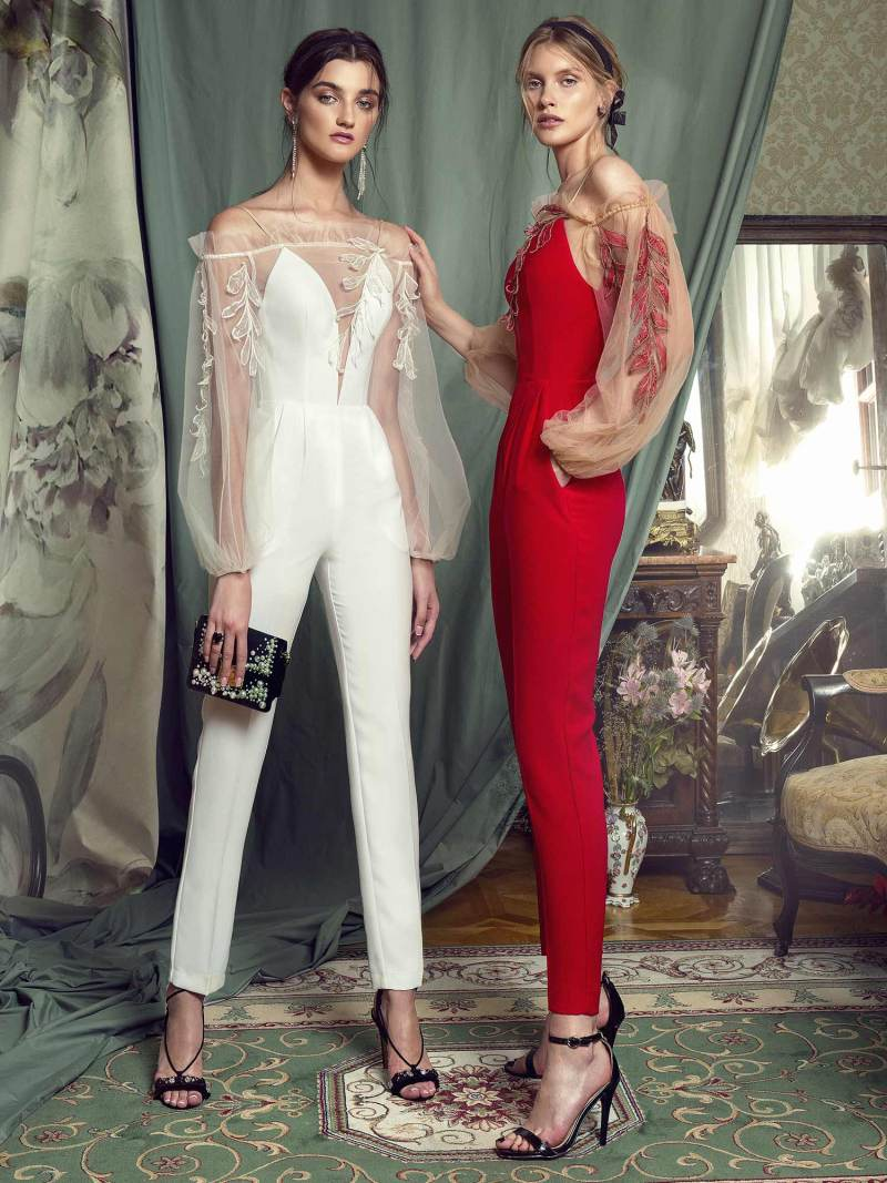 Bishop sleeve jumpsuit with leaf embroidery